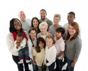 Multi-ethnic multi-generation group of people from young children to 95 years old.